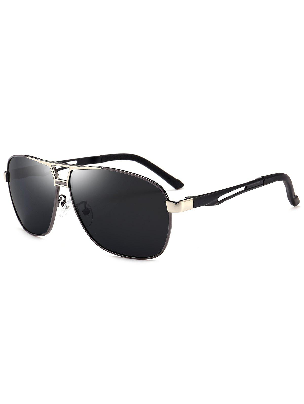 Metallic Square Pilot Sunglasses - GUN GREY FRAME/GREY LENS