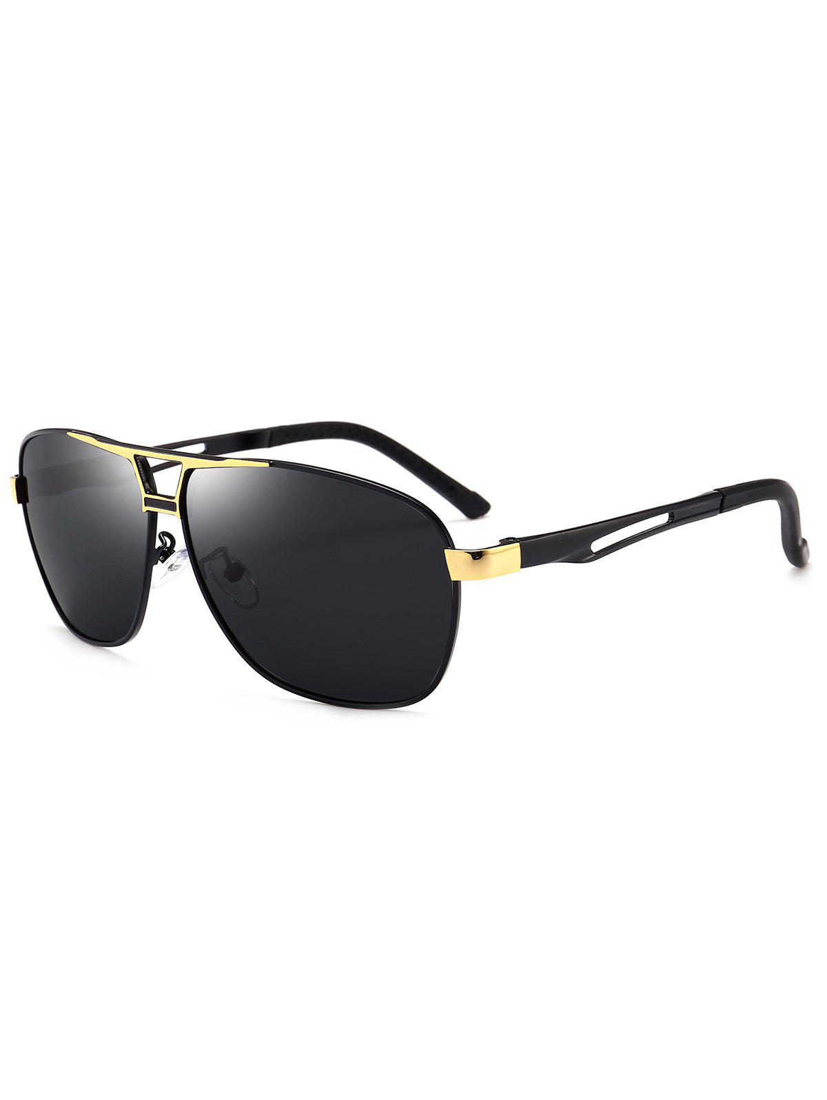 Metallic Square Pilot Sunglasses - GOLDEN