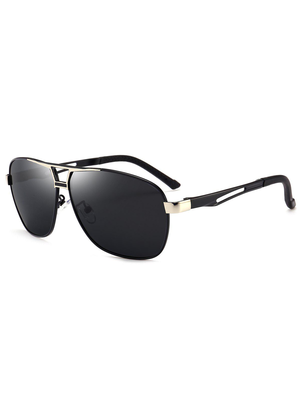 Metallic Square Pilot Sunglasses - BLACK