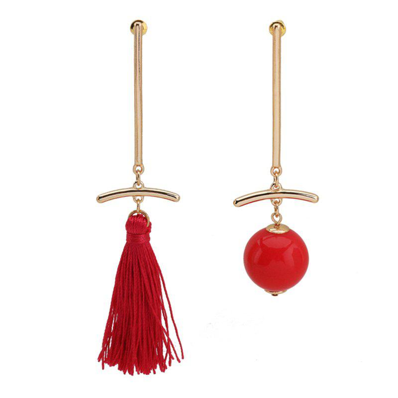Asymmetric Tassel Ball Bar Drop Earrings - GOLDEN