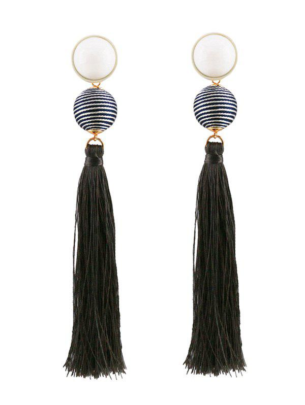 Vintage Tassel Ball Drop Earrings - GRAY