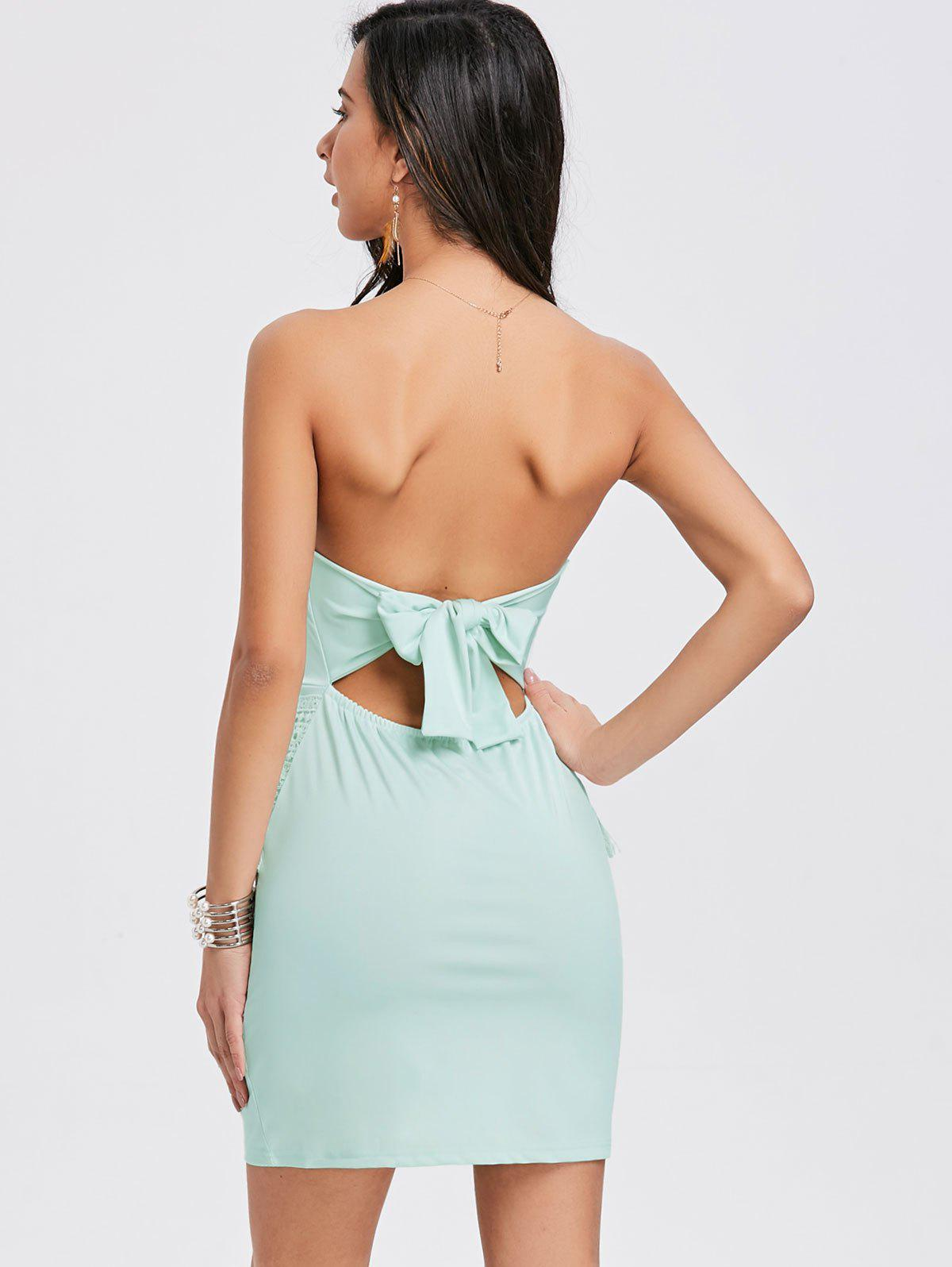 Bow Crochet Insert Tube Dress - GREEN M