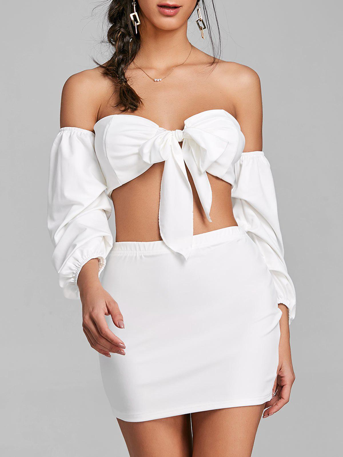 Puff Sleeve Bandeau Top and Mini Skirt - WHITE L
