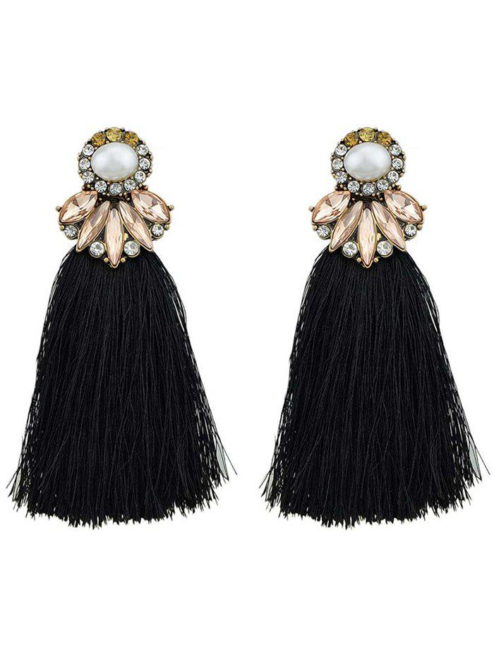 Tassel Faux Pearl and Crystal Drop Earrings - BLACK