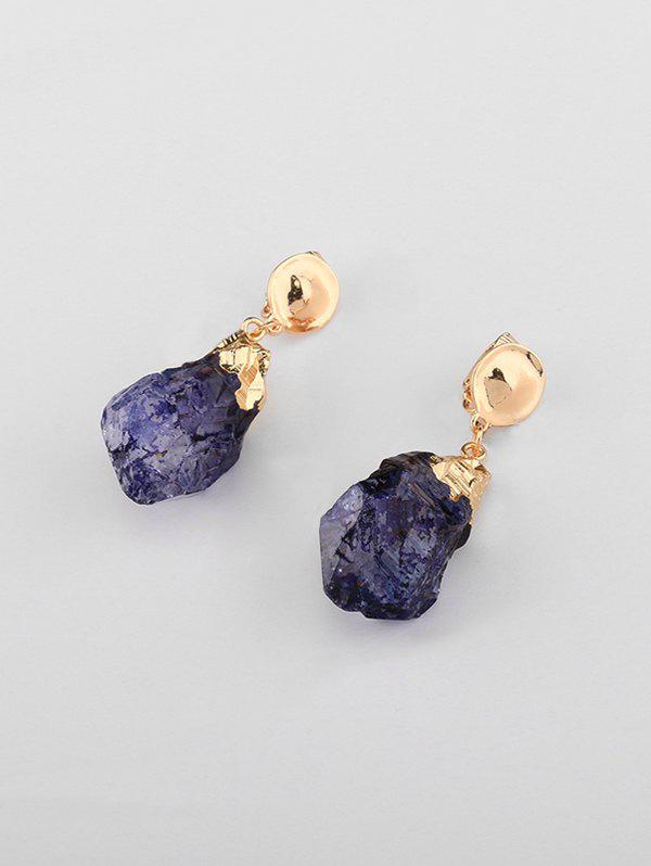 Vintage Natural Stone Clip On Earrings - GOLDEN