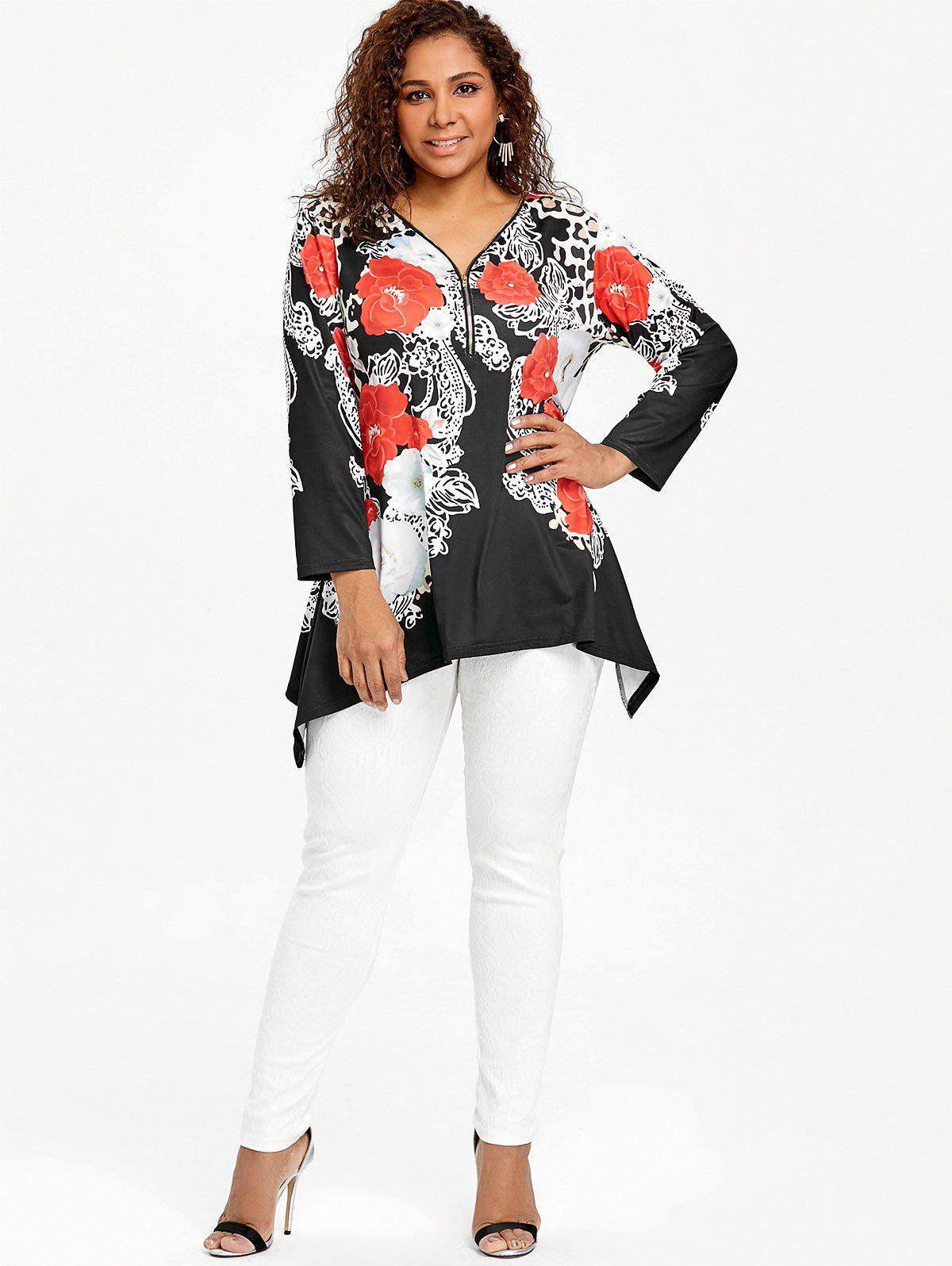 Plus Size Half Zip Leopard Asymmetric T-shirt - BLACK 3XL