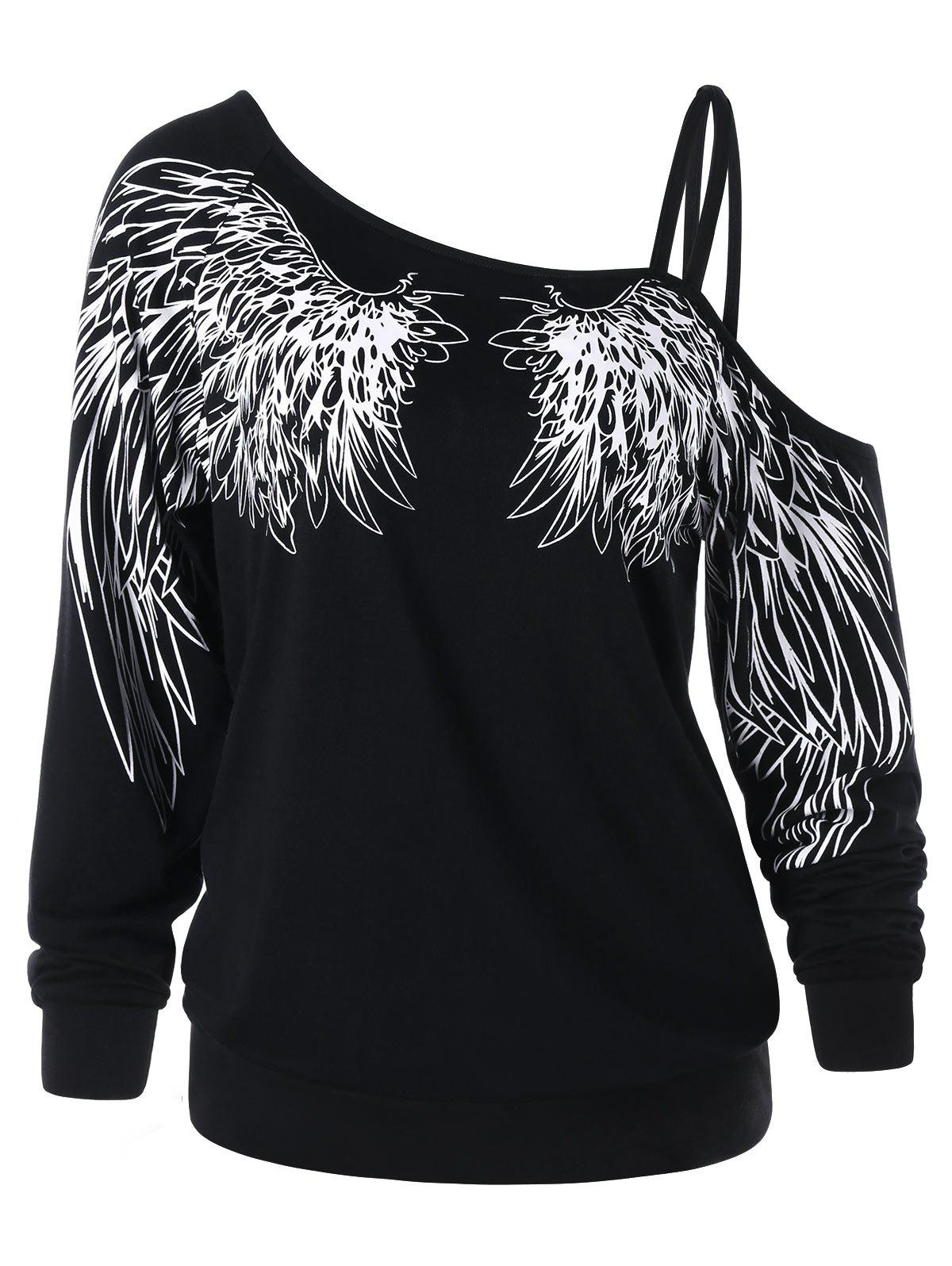 Wing Print One Shoulder Long Sleeve Top - BLACK XL