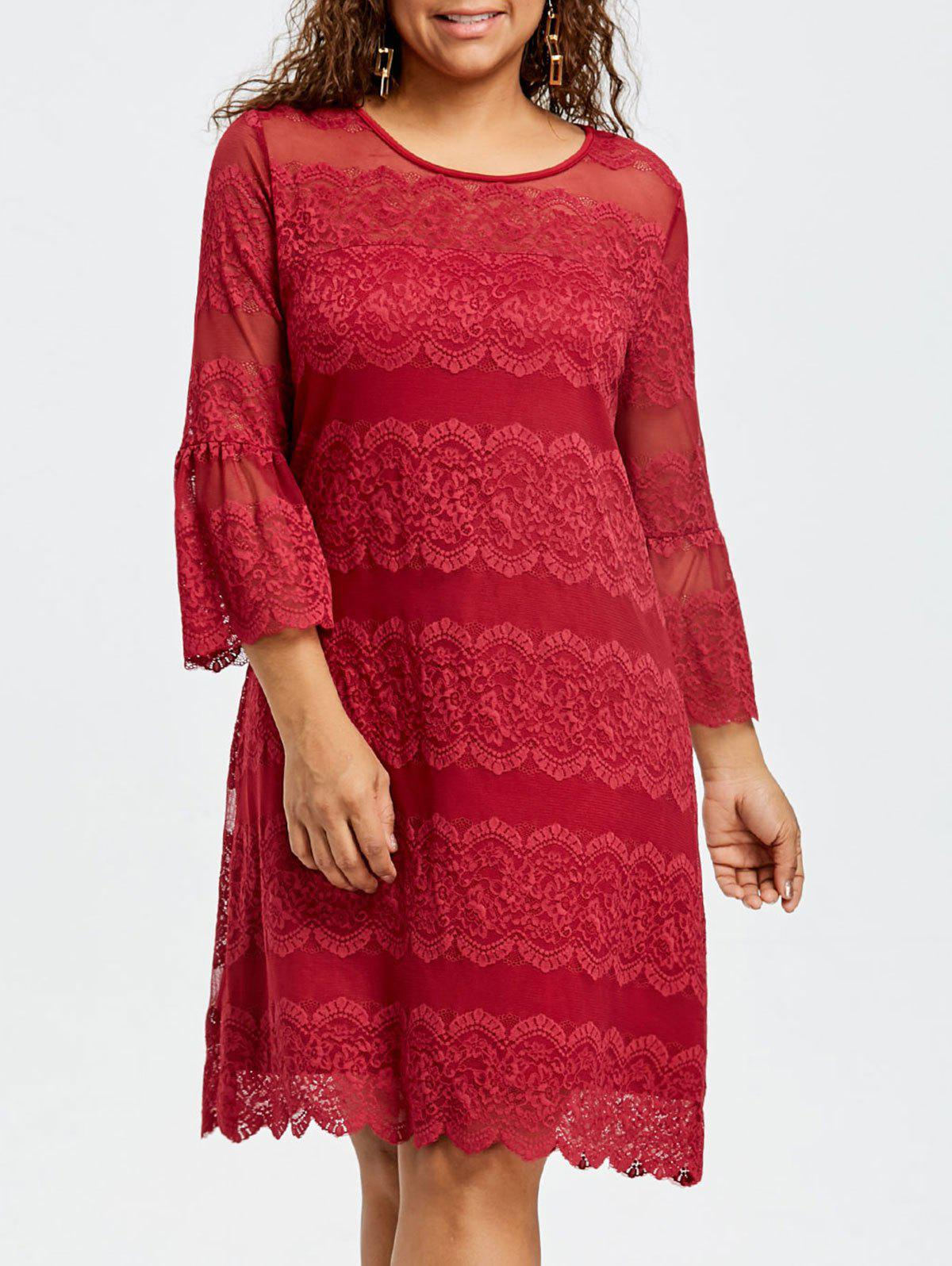 Plus Size Bell Cuff Lace Dress - RED 2XL