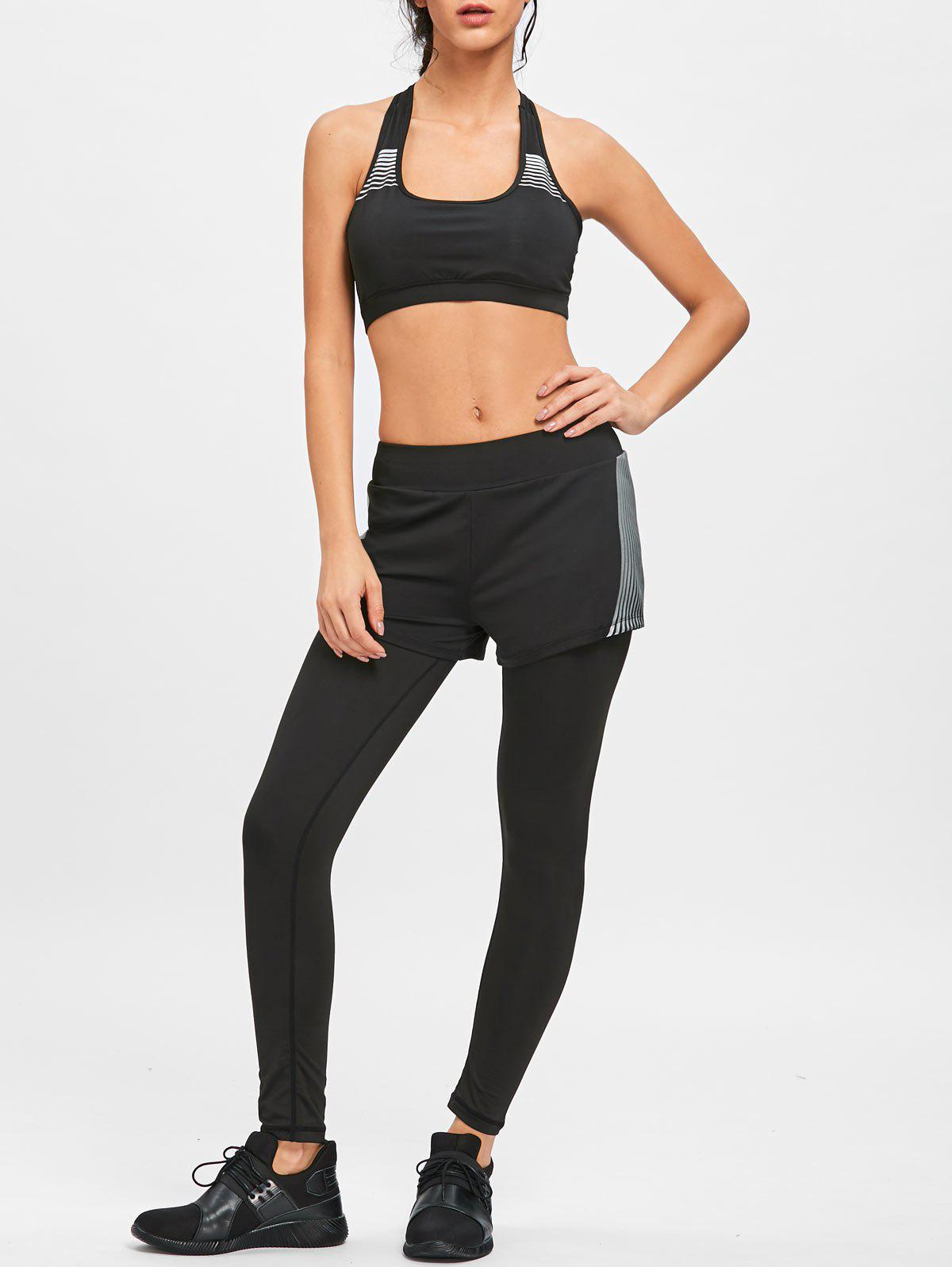 Striped Shorts Bra and Legging Sports Set - BLACK L