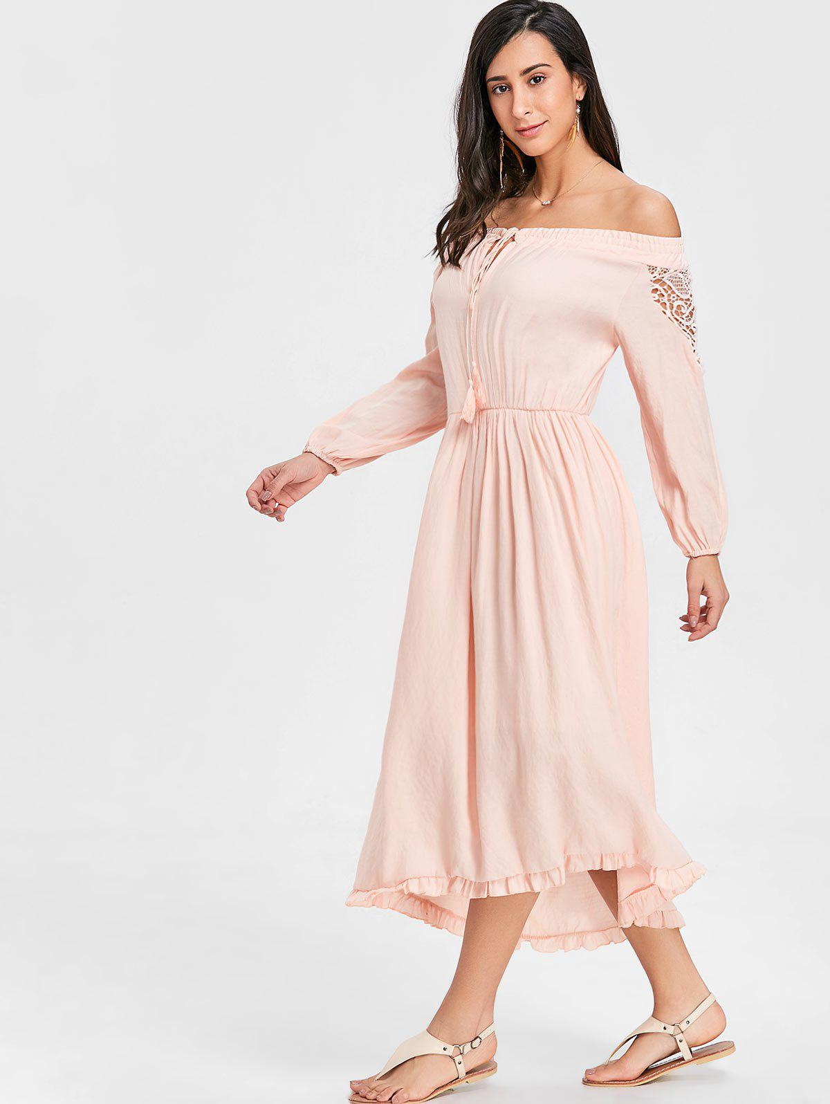 High Low Off The Shoulder Maxi Dress - PINK M