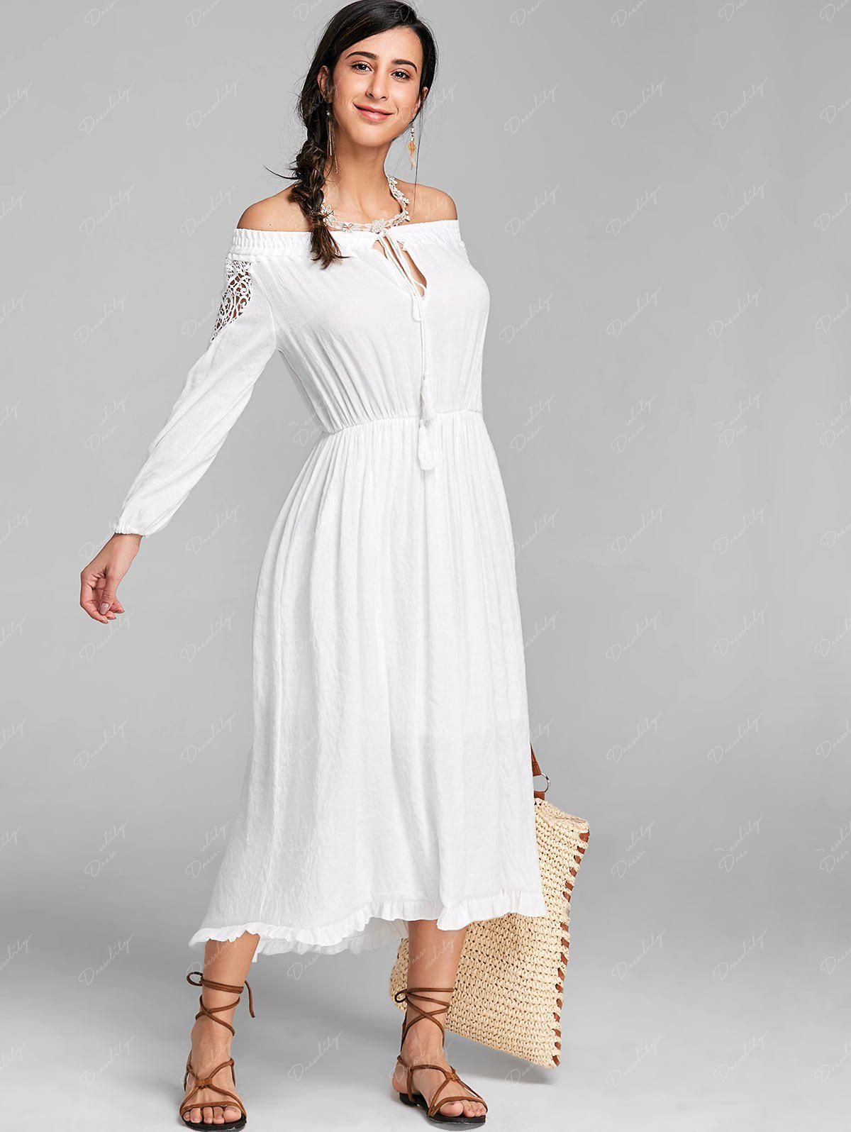 High Low Off The Shoulder Maxi Dress - WHITE XL