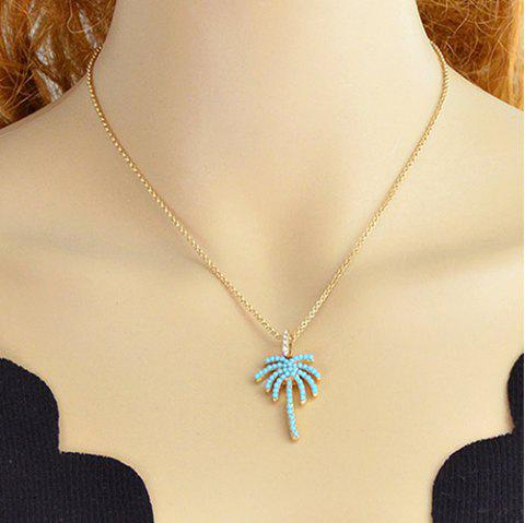 Faux Crystal Coconut Tree Beads Metal Necklace - GOLDEN