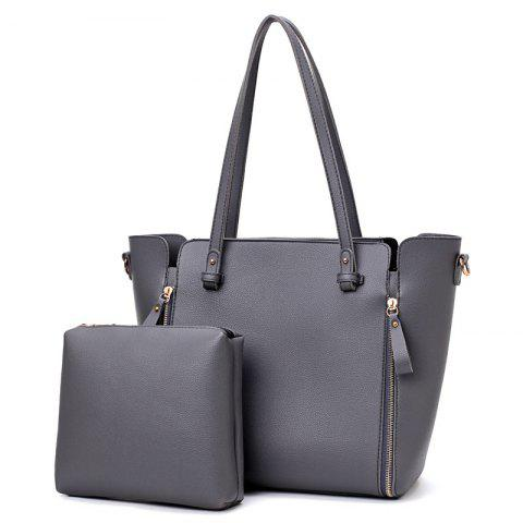 Multipurpose 2 Pieces PU Tote Bag Set - GRAY