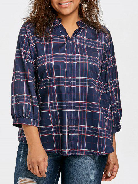 Plaid High Low Plus Size Blouse - CADETBLUE 2XL