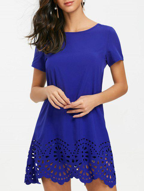 Short Sleeve Hollow Out Hemline Tee Dress - BLUE L