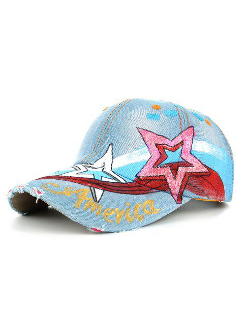 Unique Star Pattern Embellished Hand Drawing Baseball Cap - 02