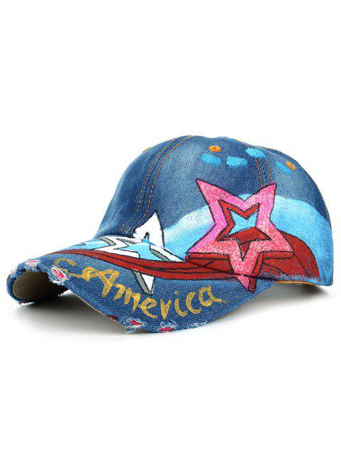 Unique Star Pattern Embellished Hand Drawing Baseball Cap - 03