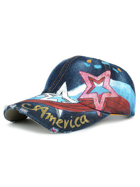 Unique Star Pattern Embellished Hand Drawing Baseball Cap - 05