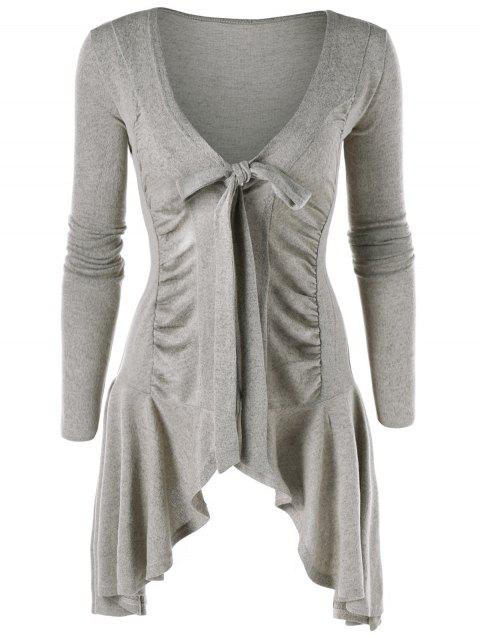 Ruched Tie Up Asymmetric Cardigan - GRAY M