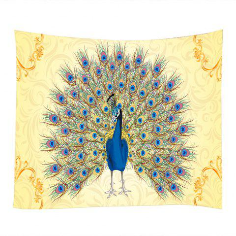 Peacock Tail Print Wall Decoration Hanging Tapestry - COLORMIX W59 INCH * L51 INCH