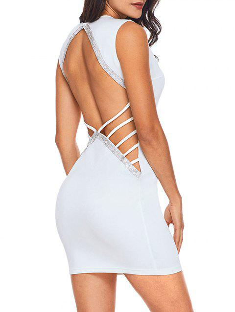 Backless Rhinestone Bodycon Mini Dress - WHITE S