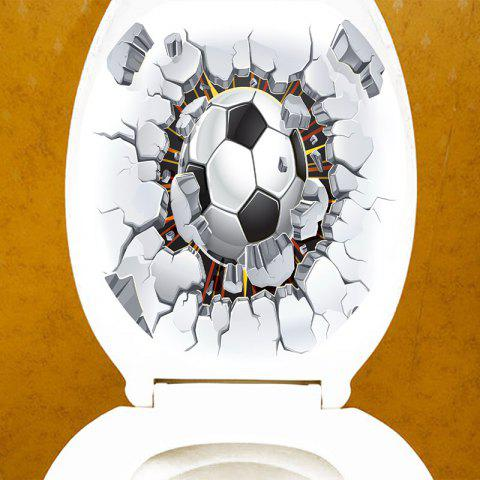 Football Through The Wall Pattern Toilet Sticker - WHITE/BLACK 12.6*15.4 INCH