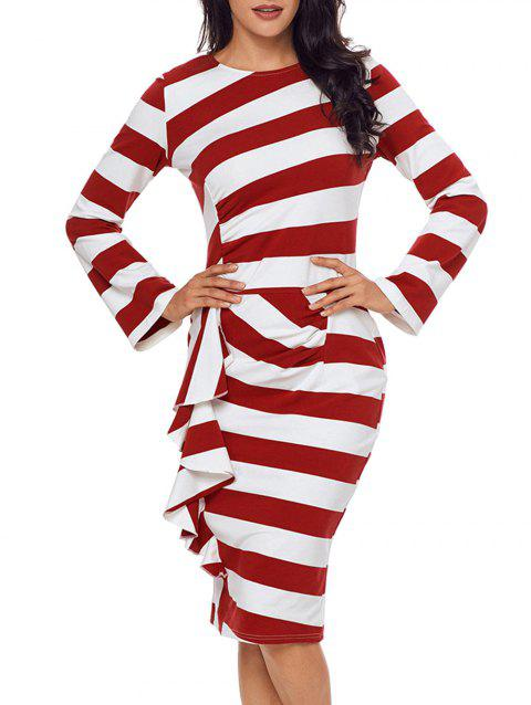 Stripe Ruffle Long Sleeve Dress - RED M