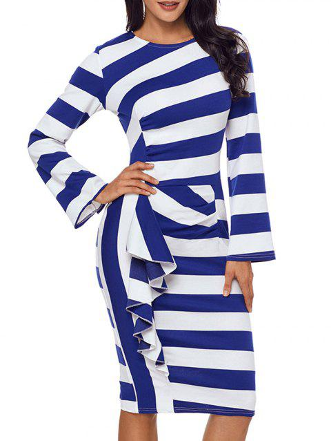 Stripe Ruffle Long Sleeve Dress - BLUE M