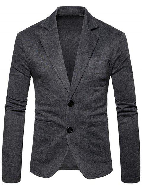 Single Breasted Plain Cotton Blend Blazer - DEEP GRAY L
