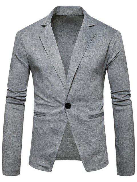 One Button Lapel Collar Cotton Blend Blazer - LIGHT GRAY XL