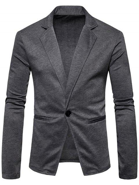 One Button Lapel Collar Cotton Blend Blazer - DEEP GRAY S