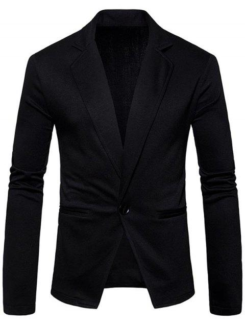 One Button Lapel Collar Cotton Blend Blazer - BLACK XL