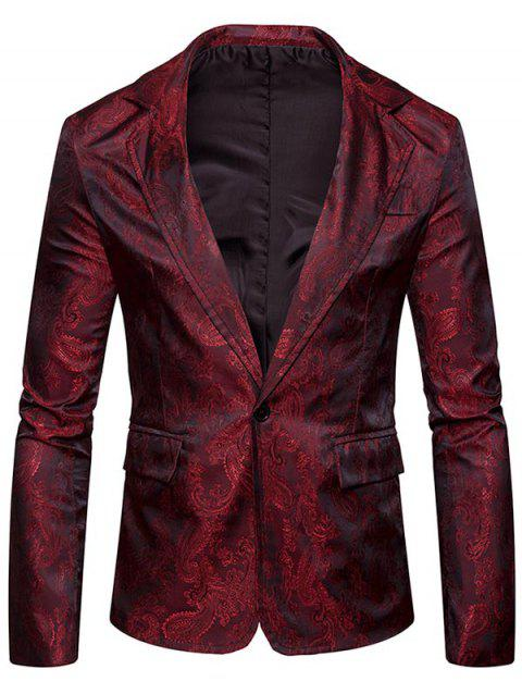 Flap Pocket One Button Vintage Paisley Blazer - WINE RED M