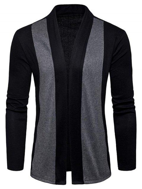 Shawl Collar Two Tone Open Front Cardigan - BLACK 2XL