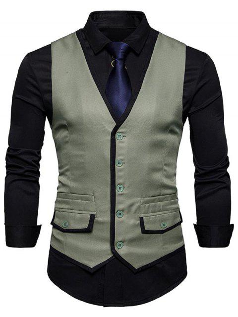 Contrast Trim Faux Pocket Single Breasted Waistcoat - SAGE GREEN 2XL