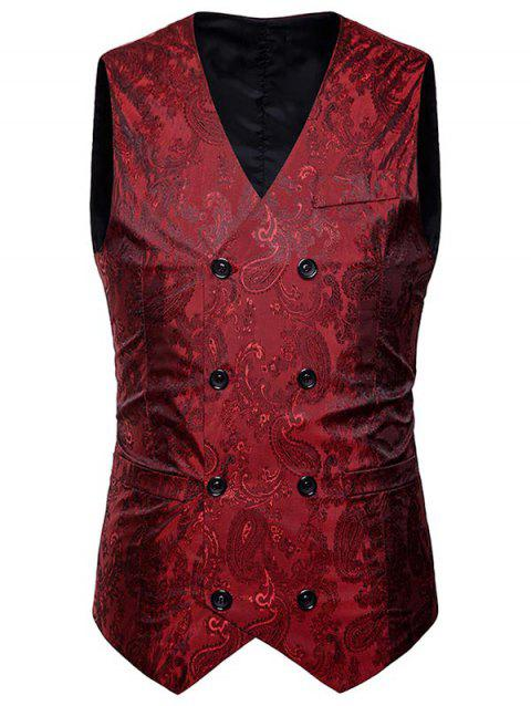 Double Breasted Paisley Pattern Waistcoat - WINE RED 2XL