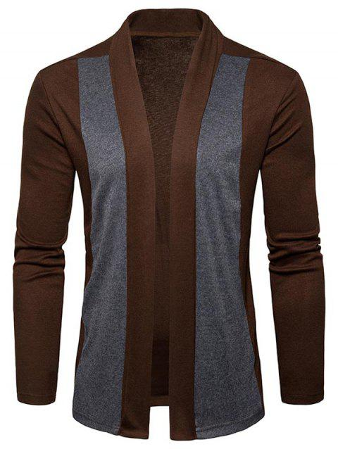 Shawl Collar Two Tone Open Front Cardigan - CAPPUCCINO XL
