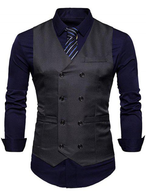 Slim Fit V Neck Double Breasted Waistcoat - DEEP GRAY L