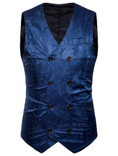 Double Breasted Paisley Pattern Waistcoat - BLUE 2XL