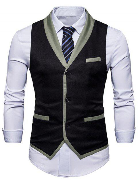 Shawl Collar Single Breasted Edging Waistcoat - BLACK 2XL