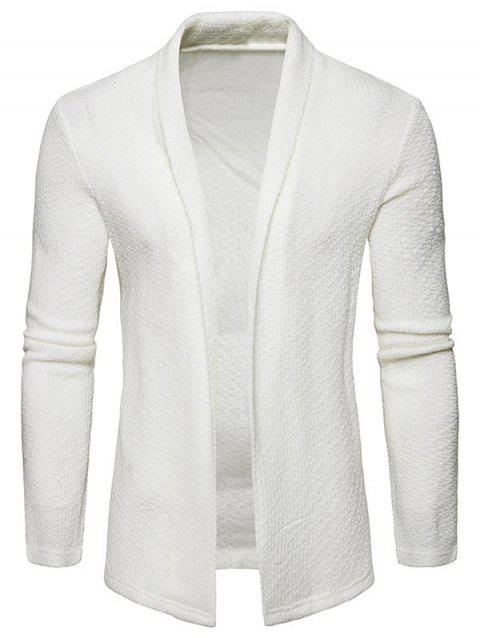 Textured Shawl Collar Open Front Cardigan - WHITE L