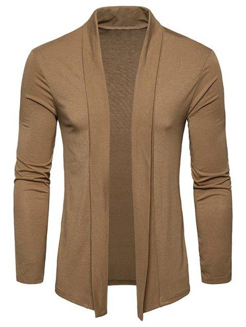 Plain Shawl Collar Open Front Cardigan - KHAKI M