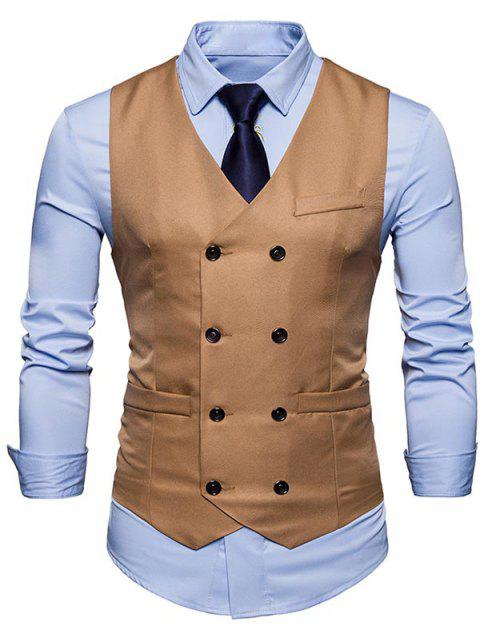 Slim Fit V Neck Double Breasted Waistcoat - KHAKI 2XL