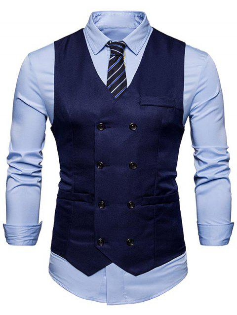 Slim Fit V Neck Double Breasted Waistcoat - PURPLISH BLUE 2XL