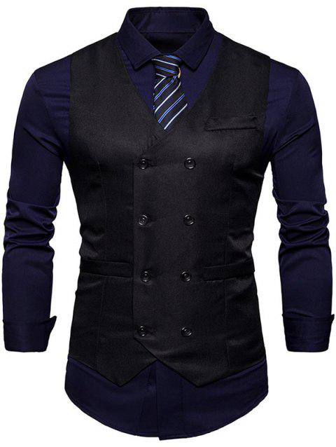 Slim Fit V Neck Double Breasted Waistcoat - BLACK L