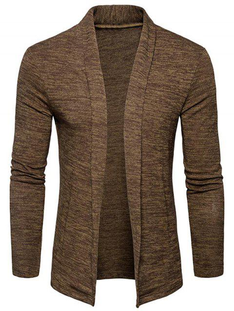 Space Dye Shawl Collar Open Front Cardigan - CAPPUCCINO XL