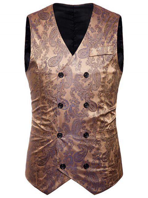 Double Breasted Paisley Pattern Waistcoat - GOLDEN M
