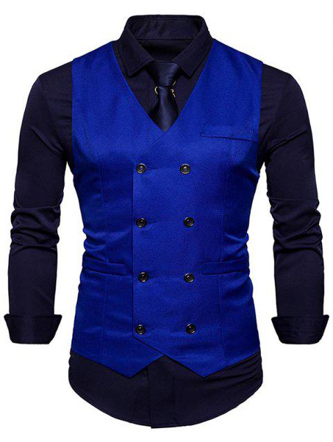Slim Fit V Neck Double Breasted Waistcoat - ROYAL L