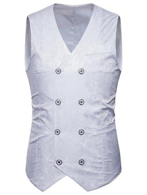 Double Breasted Paisley Pattern Waistcoat - WHITE 2XL