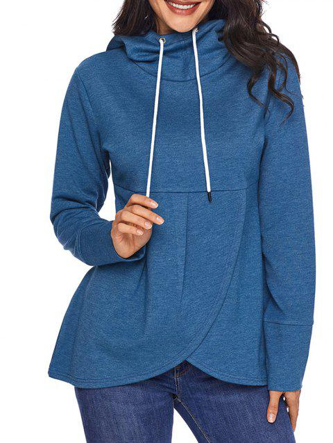 Overlap Pullover Drawstring Hoodie - BLUE S